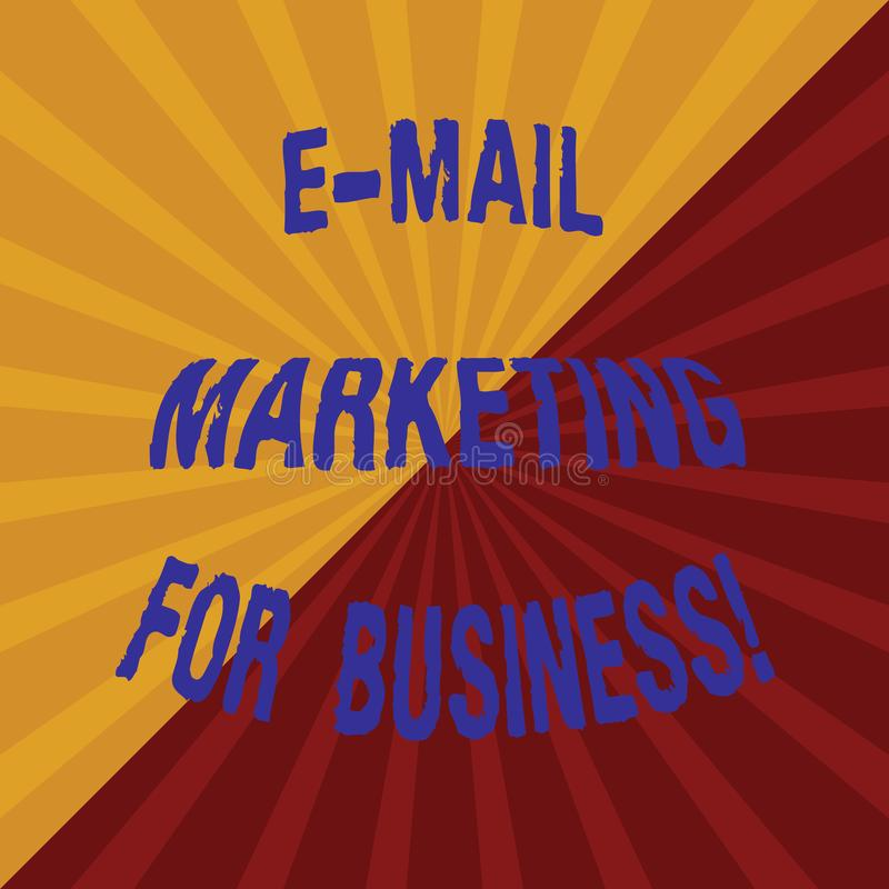 Word writing text E Mail Marketing For Business. Business concept for Mailing as advertising campaign strategies Two. Tone Sunburst Ray Divided by Diagonal Line vector illustration