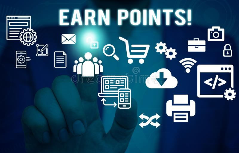 Word writing text Earn Points. Business concept for collecting scores in order qualify to win big prize Male human wear. Word writing text Earn Points. Business royalty free stock images