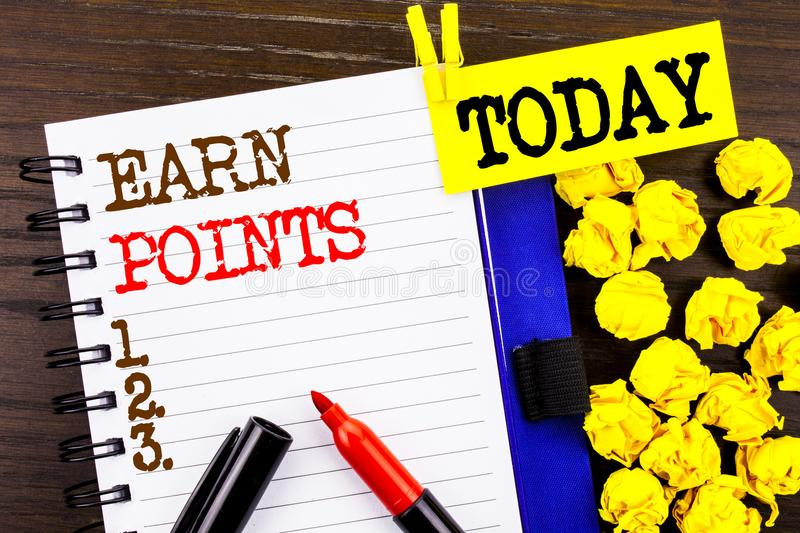 Word, writing, text Earn Points. Business concept for Loyalty Reward Benefit Program For Earning Customer Point written on notebo stock photography