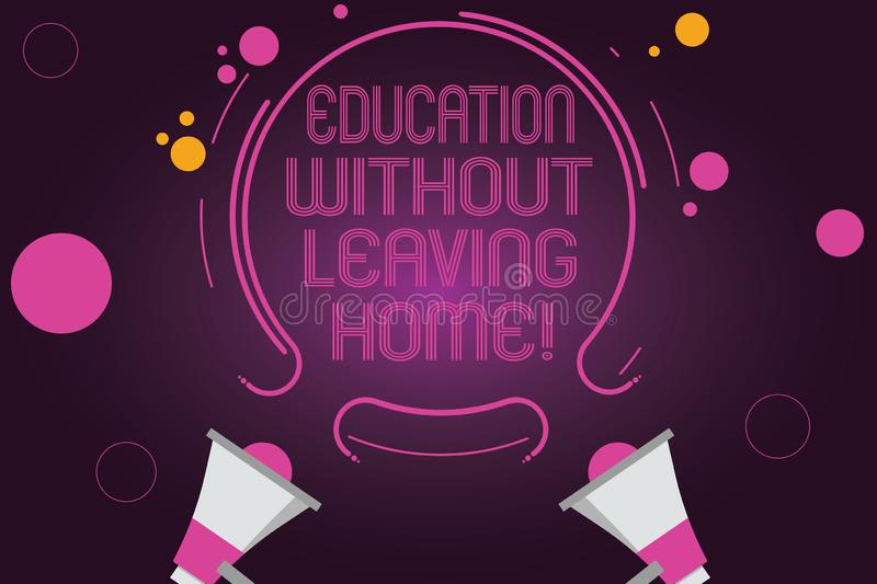 Word writing text Education Without Leaving Home. Business concept for Homeschooling Online education Elearning Two stock illustration