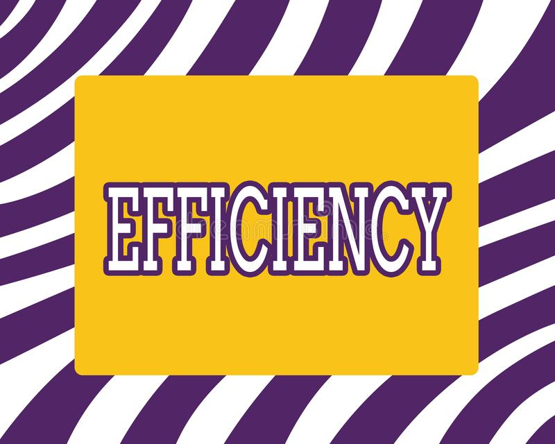 Word writing text Efficiency. Business concept for State or quality of being efficient Good perforanalysisce improvement stock illustration