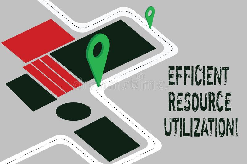 Word writing text Efficient Resource Utilization. Business concept for Maximizing the effectiveness and productivity Road Map. Navigation Marker 3D Locator Pin stock illustration