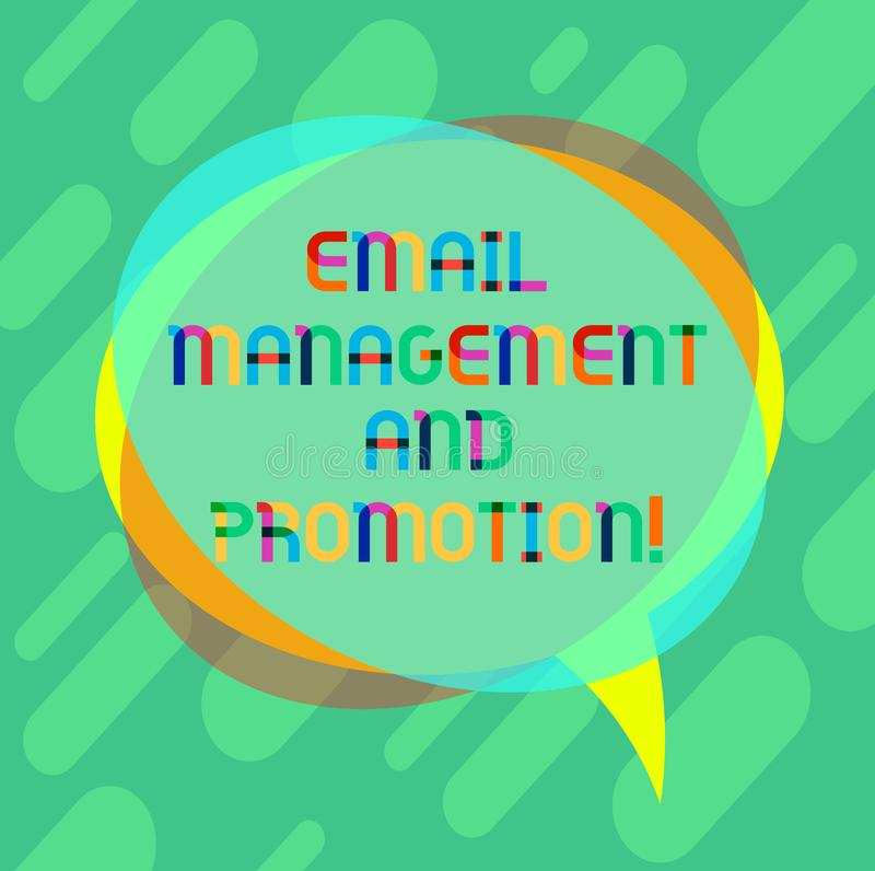 Word writing text Email Management And Promotion. Business concept for Mailing as advertising campaign strategies Blank. Speech Bubble photo and Stack of stock illustration