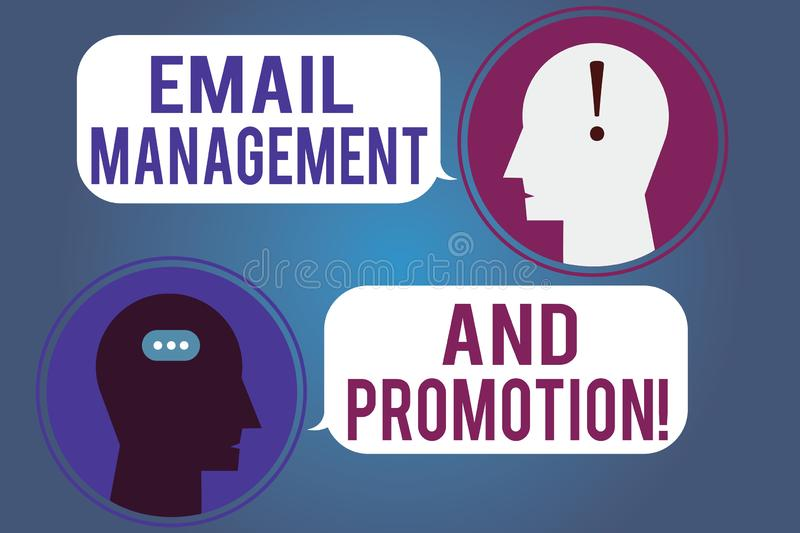 Word writing text Email Management And Promotion. Business concept for Mailing as advertising campaign strategies. Messenger Room with Chat Heads Speech Bubbles vector illustration