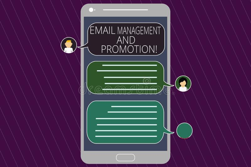 Word writing text Email Management And Promotion. Business concept for Mailing as advertising campaign strategies Mobile. Messenger Screen with Chat Heads and stock illustration