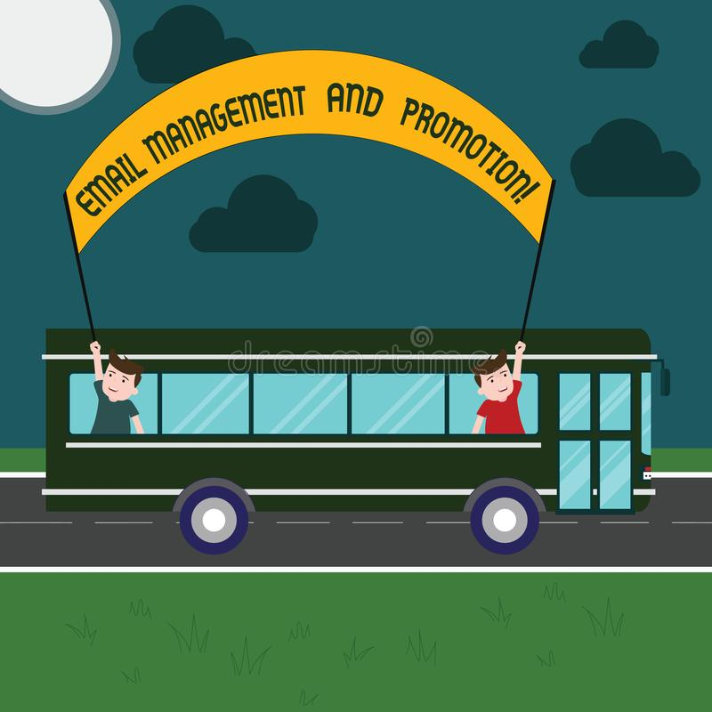 Word writing text Email Management And Promotion. Business concept for Mailing as advertising campaign strategies Two. Kids Inside School Bus Holding Out Banner vector illustration