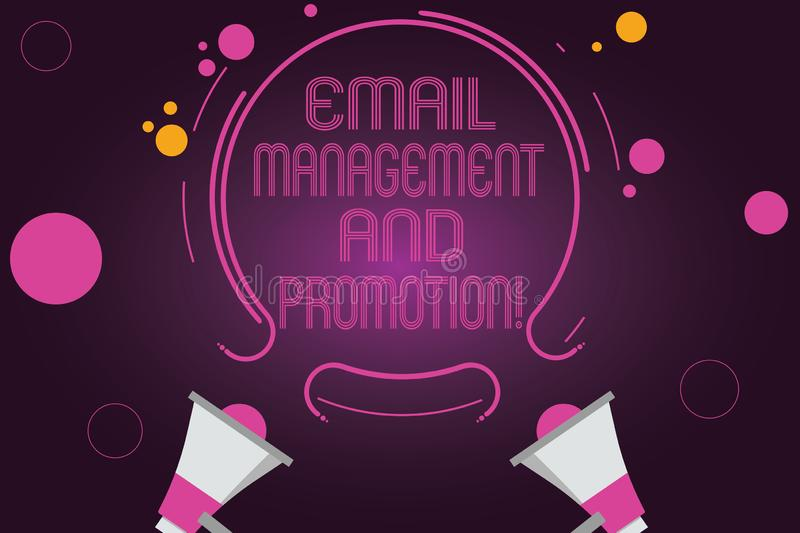 Word writing text Email Management And Promotion. Business concept for Mailing as advertising campaign strategies Two. Megaphone and Circular Outline with Small royalty free illustration