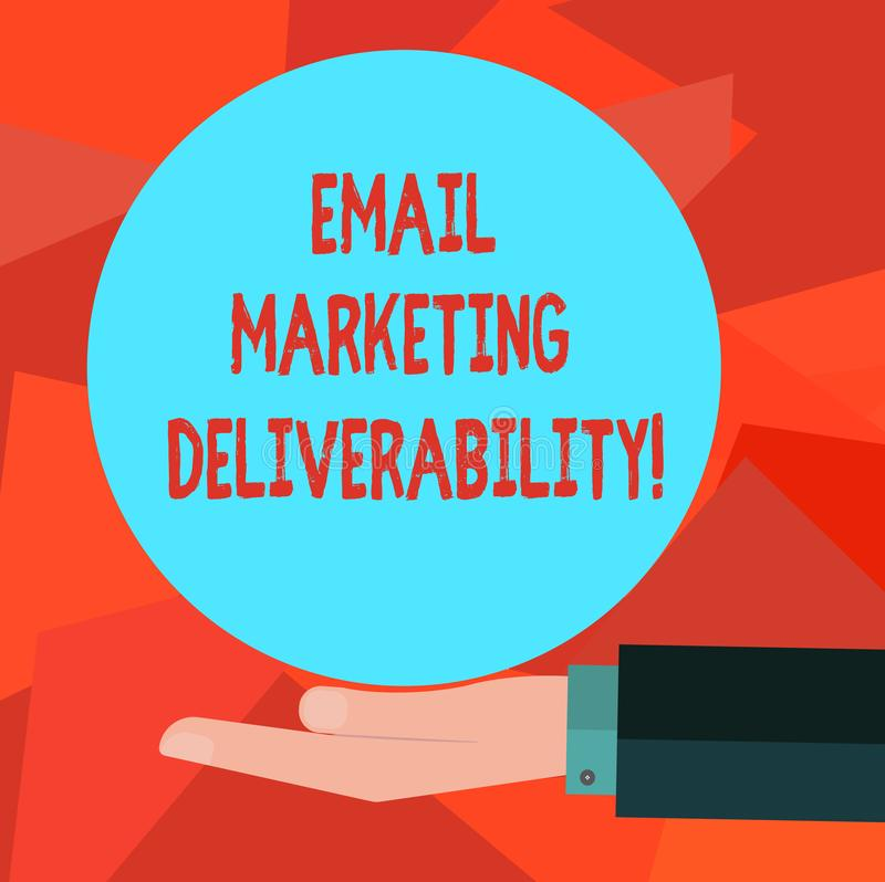 Word writing text Email Marketing Deliverability. Business concept for Ability to deliver emails to subscribers Hu analysis Hand. In Suit Offering Blank Solid royalty free illustration