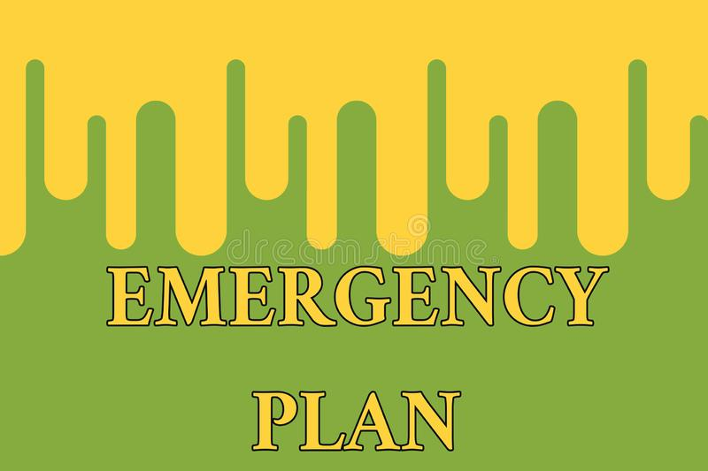 Word writing text Emergency Plan. Business concept for procedures for handling sudden or unexpected situations Paint. Word writing text Emergency Plan. Business stock illustration