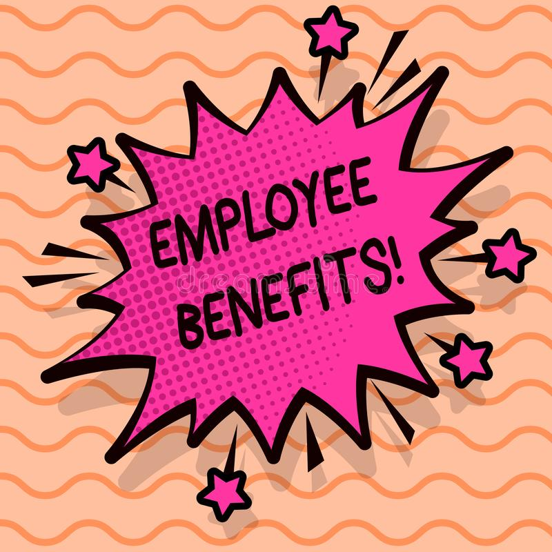 Word writing text Employee Benefits. Business concept for list of advantage recruiter get at work Insurance. Word writing text Employee Benefits. Business royalty free illustration