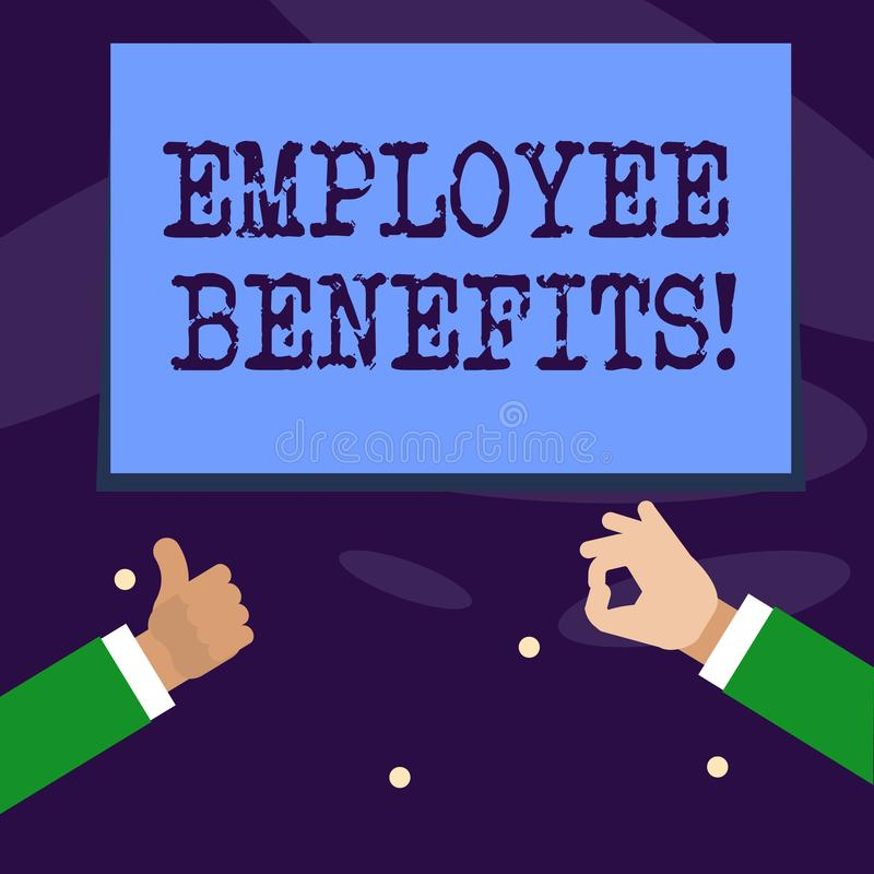 Word writing text Employee Benefits. Business concept for list of advantage recruiter get at work Insurance. Word writing text Employee Benefits. Business vector illustration