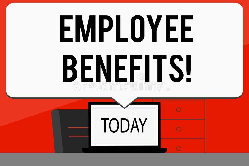 Word writing text Employee Benefits. Business concept for list of advantage recruiter get at work Insurance. Word writing text Employee Benefits. Business stock illustration