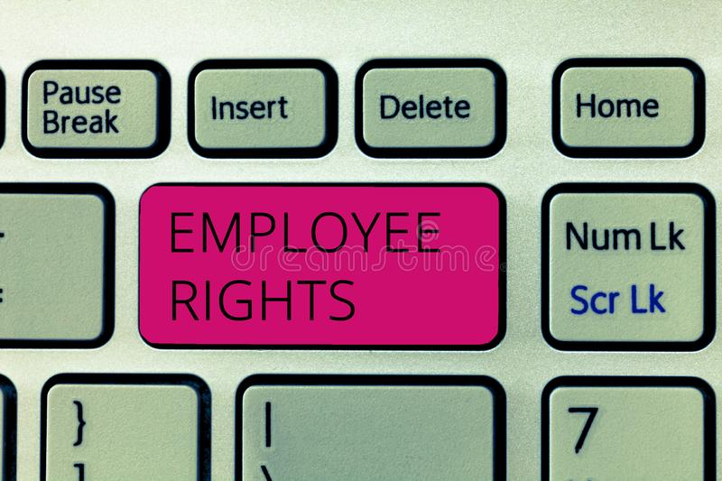 Word writing text Employee Rights. Business concept for All employees have basic rights in their own workplace stock photos