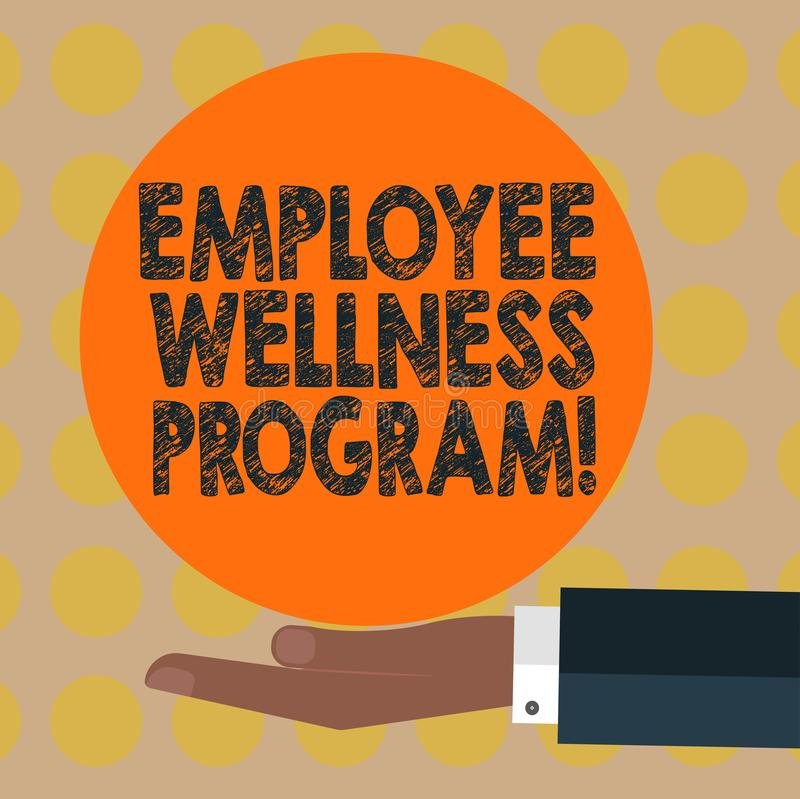 Word writing text Employee Wellness Program. Business concept for Help improve the health of its labor force Hu analysis Hand in. Suit Offering Blank Solid royalty free illustration