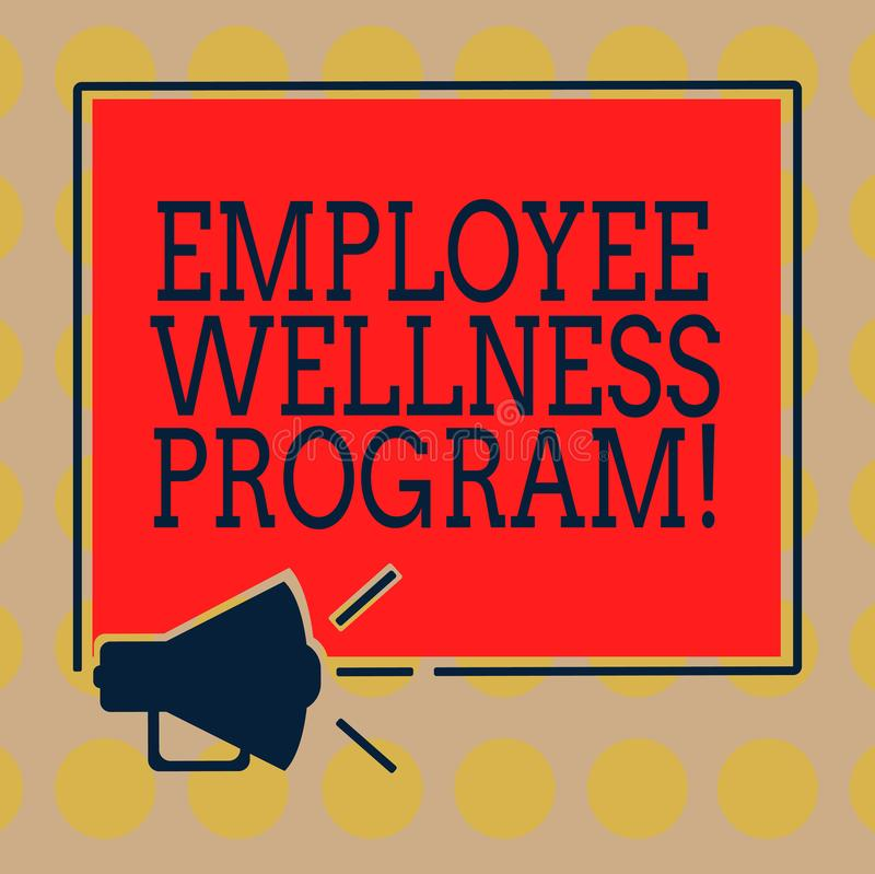 Word writing text Employee Wellness Program. Business concept for Help improve the health of its labor force Megaphone Sound icon. Outlines Blank Square stock illustration