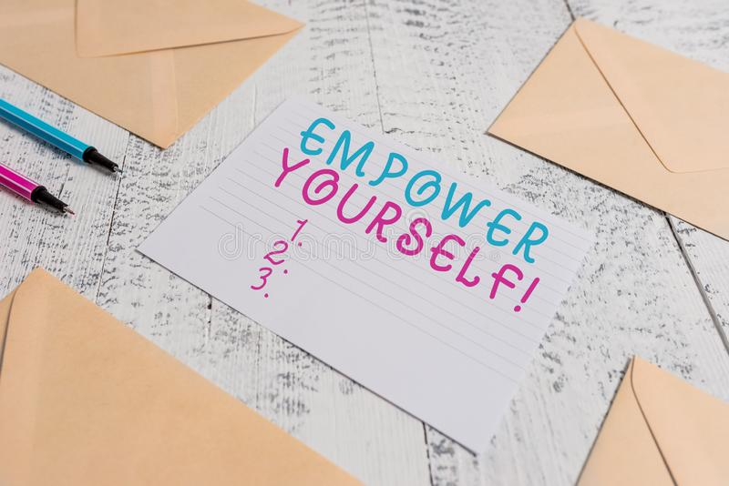 Word writing text Empower Yourself. Business concept for taking control of our life setting goals and making choices. Word writing text Empower Yourself stock photos