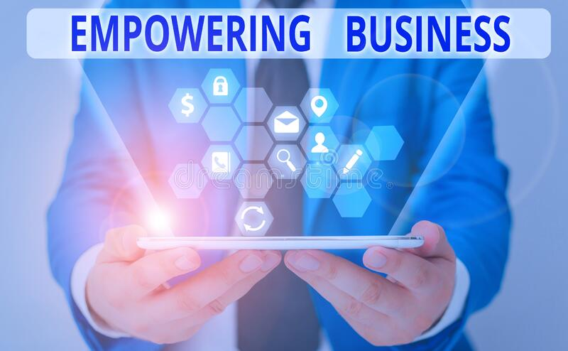 Word writing text Empowering Business. Business concept for creating an environment that fosters growth of business. Word writing text Empowering Business royalty free stock photo