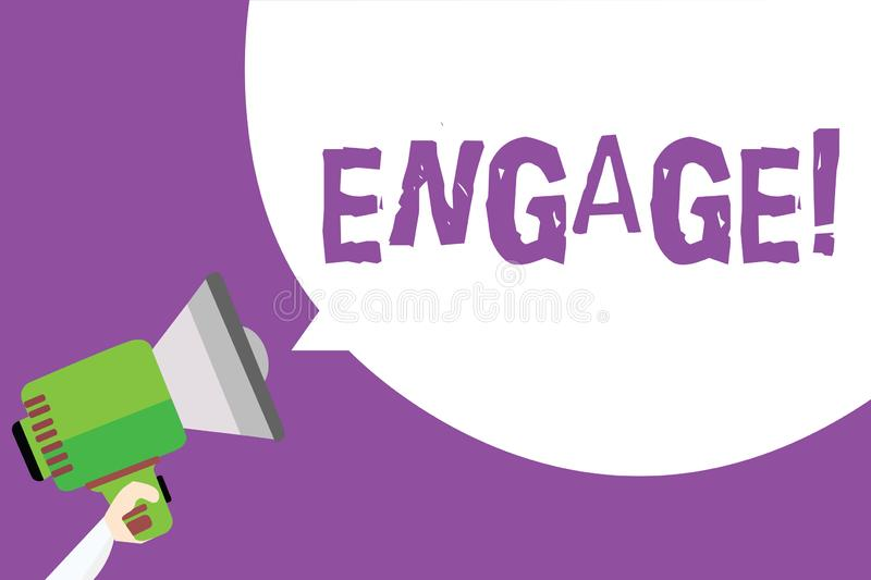 Word writing text Engage. Business concept for Participate Become involved Marriage proposal Employ someone Man holding. Megaphone loudspeaker speech bubble stock illustration