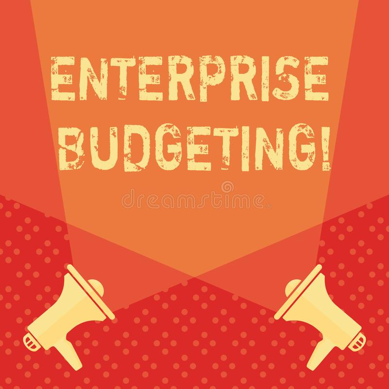 Word writing text Enterprise Budgeting. Business concept for estimated income and expenses associated in business Blank. Word writing text Enterprise Budgeting stock illustration