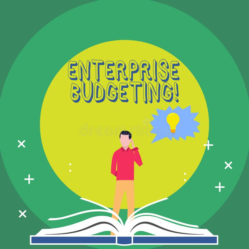 Word writing text Enterprise Budgeting. Business concept for estimated income and expenses associated in business Man. Word writing text Enterprise Budgeting royalty free illustration