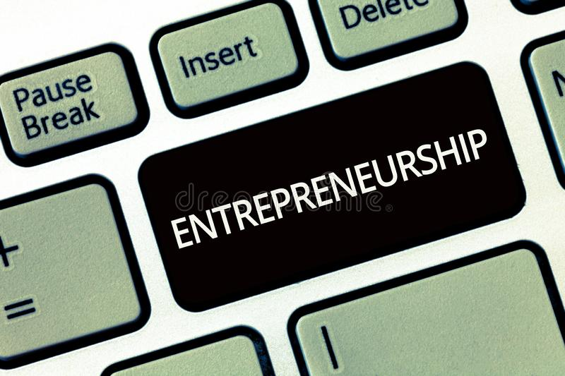 Word writing text Entrepreneurship. Business concept for Process of designing launching and running a new business royalty free stock photography