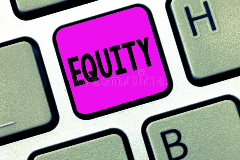 Word writing text Equity. Business concept for Value of a company divided into equal parts owned by shareholders.  stock photos
