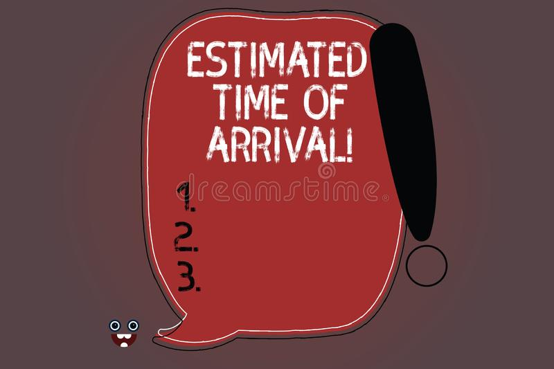 Word writing text Estimated Time Of Arrival. Business concept for Hours at which a flight is supposed to arrive Blank. Color Speech Bubble Outlined with royalty free illustration