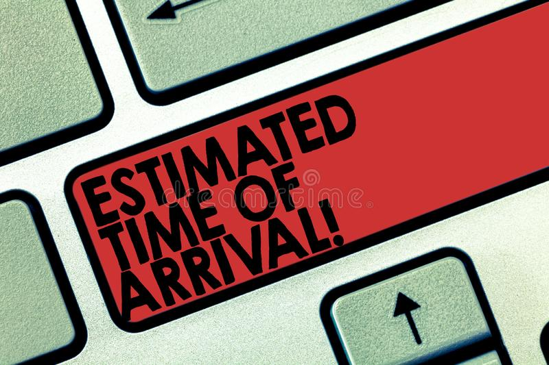 Word writing text Estimated Time Of Arrival. Business concept for Hours at which a flight is supposed to arrive Keyboard. Key Intention to create computer vector illustration