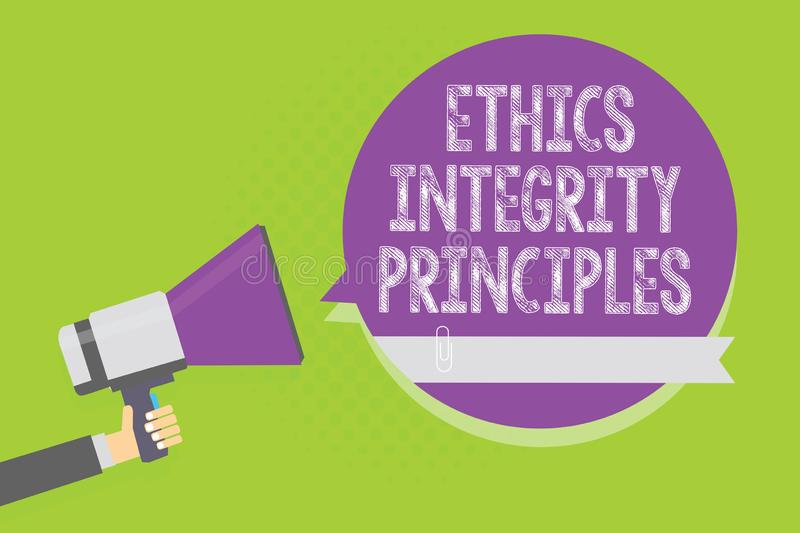 Word writing text Ethics Integrity Principles. Business concept for quality of being honest and having strong moral Man. Holding megaphone loudspeaker purple stock illustration