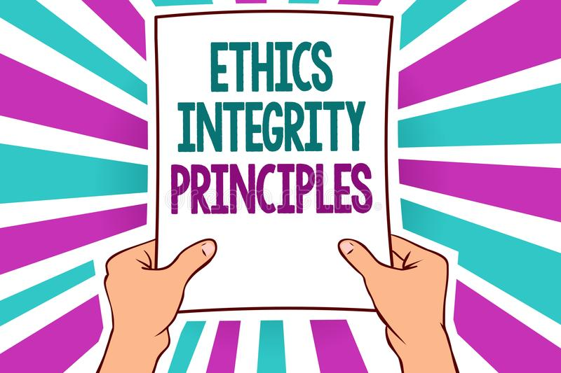 Word writing text Ethics Integrity Principles. Business concept for quality of being honest and having strong moral Man holding pa. Per important message stock illustration