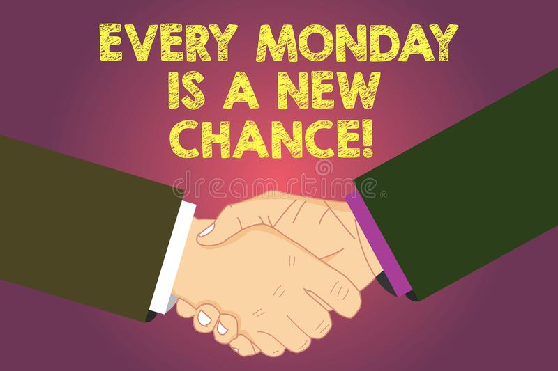 Word writing text Every Monday Is A New Chance. Business concept for Start your week with positivism Motivation Hu stock illustration
