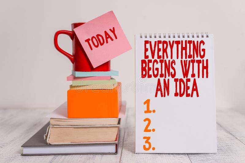 Word writing text Everything Begins With An Idea. Business concept for steps you take to turn an idea into a reality Cup. Word writing text Everything Begins royalty free stock images