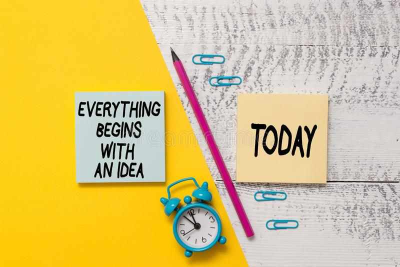 Word writing text Everything Begins With An Idea. Business concept for steps you take to turn an idea into a reality. Word writing text Everything Begins With An royalty free stock photo