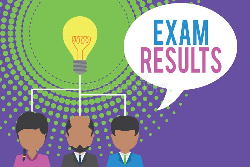 Word writing text Exam Results. Business concept for An outcome of a formal test that shows knowledge or ability Group. Word writing text Exam Results. Business royalty free illustration