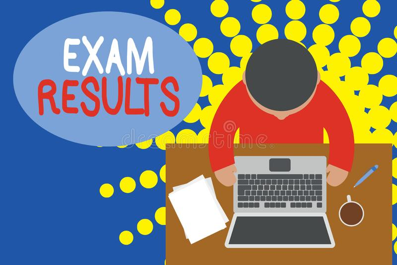 Word writing text Exam Results. Business concept for An outcome of a formal test that shows knowledge or ability Upper. Word writing text Exam Results. Business royalty free illustration