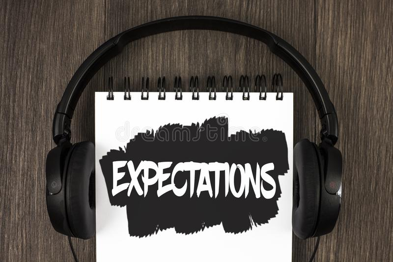 Word writing text Expectations. Business concept for Huge sales in equity market assumptions by an expert analyst written on Notep. Word writing text stock images