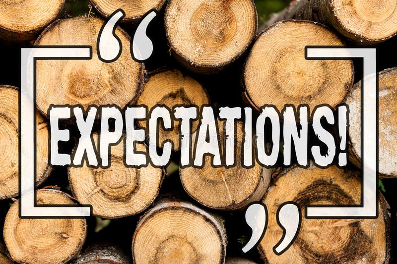 Word writing text Expectations. Business concept for hugh sales in equity market assumptions by an expert analyst Wooden. Background vintage wood wild message royalty free stock images