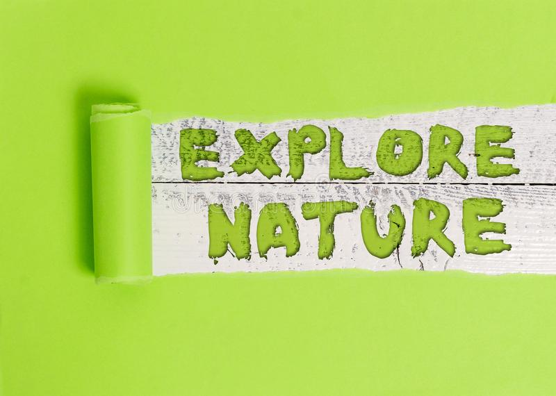 Word writing text Explore Nature. Business concept for Reserve Campsite Conservation Expedition Safari park. Word writing text Explore Nature. Business photo royalty free stock images