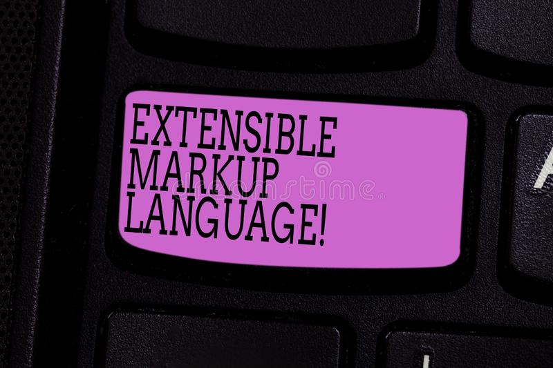 Word writing text Extensible Markup Language. Business concept for computer language that use tag to define element. Keyboard key Intention to create computer stock images