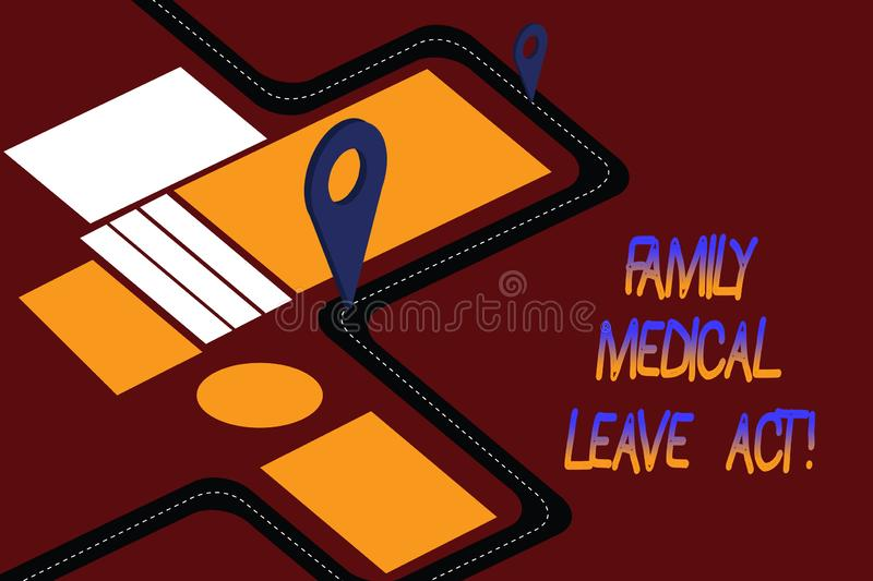 Word writing text Family Medical Leave Act. Business concept for FMLA labor law covering employees and families Road Map stock illustration