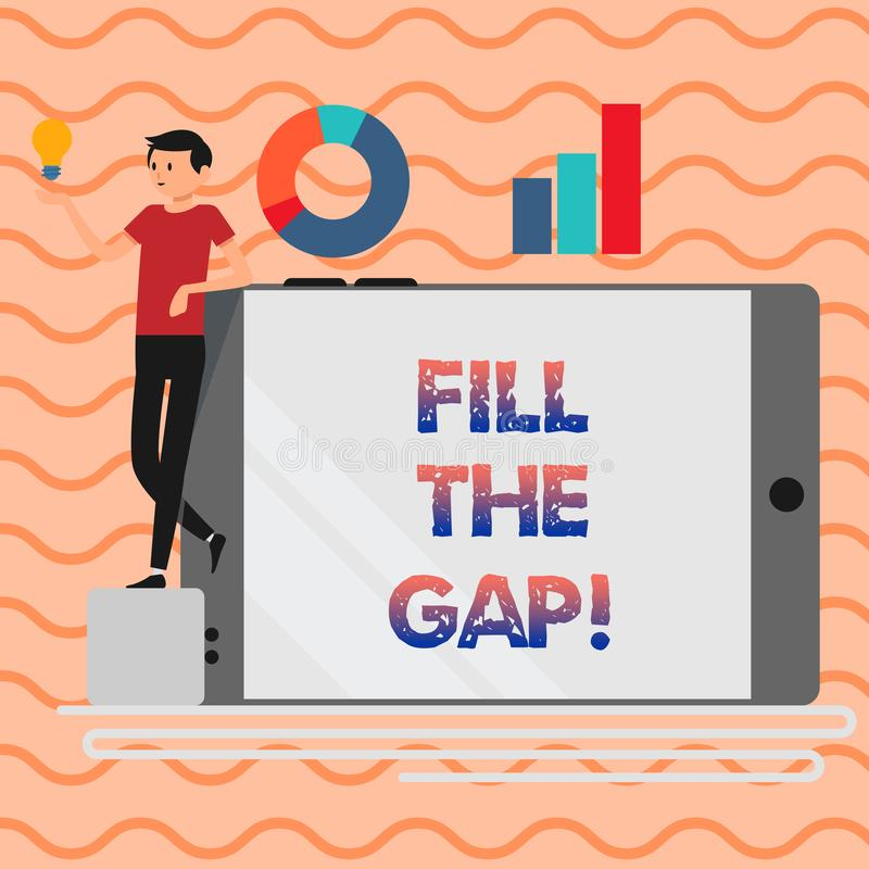 Word writing text Fill The Gap. Business concept for Put he missing part in its right place Solution to the puzzle. Word writing text Fill The Gap. Business stock illustration