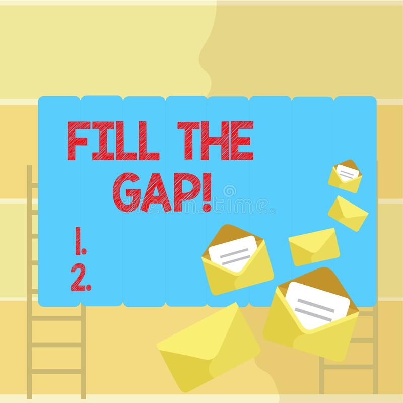 Word writing text Fill The Gap. Business concept for Put he missing part in its right place Solution to the puzzle. Word writing text Fill The Gap. Business vector illustration