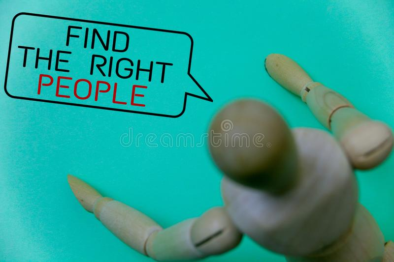 Word writing text Find The Right People. Business concept for choosing perfect candidate for job or position Cyan background robot. Imaginations idea message stock photography