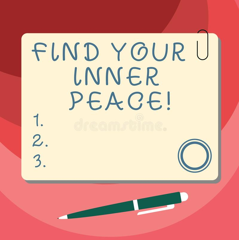 Word writing text Find Your Inner Peace. Business concept for Peaceful style of life Positivism Meditation Blank Square. Color Board with Magnet Click Ballpoint vector illustration