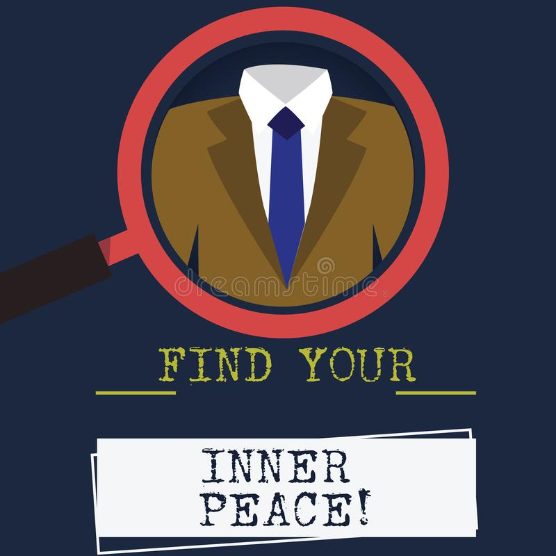 Word writing text Find Your Inner Peace. Business concept for Peaceful style of life Positivism Meditation Magnifying. Glass photo Enlarging Inspecting a Tuxedo stock illustration