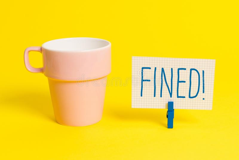 Word writing text Fined. Business concept for clarify beer by causing precipitation of sediment during production Cup. Word writing text Fined. Business photo stock photo