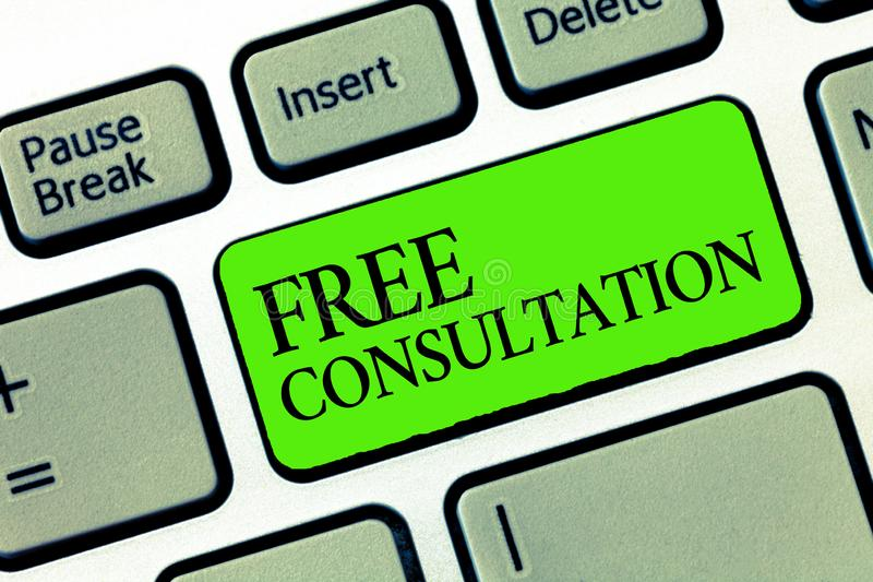 Word writing text Free Consultation. Business concept for Giving medical and legal discussions without pay.  stock photos