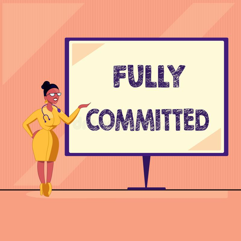 Word writing text Fully Committed. Business concept for Extremely agreed to do something in life definitely.  stock illustration