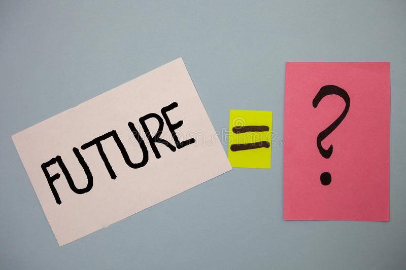 Word writing text Future. Business concept for Period of time following the present moment Events that will happen Ideas messages. Equal sign question mark stock image