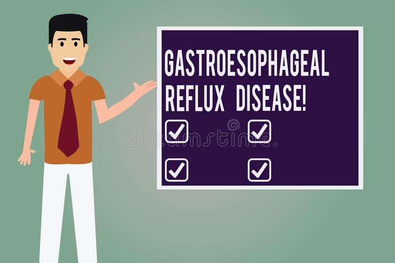 Word writing text Gastroesophageal Reflux Disease. Business concept for digestive disorder Burning chest pain Man with Tie stock illustration